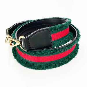 Green and Red Fringe ribbon Shoulder Strap