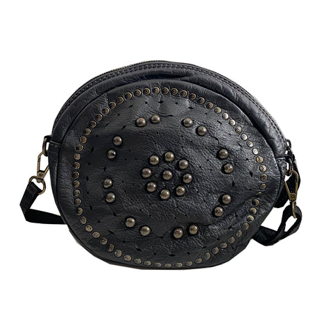 Round Embellished Crossbody Black