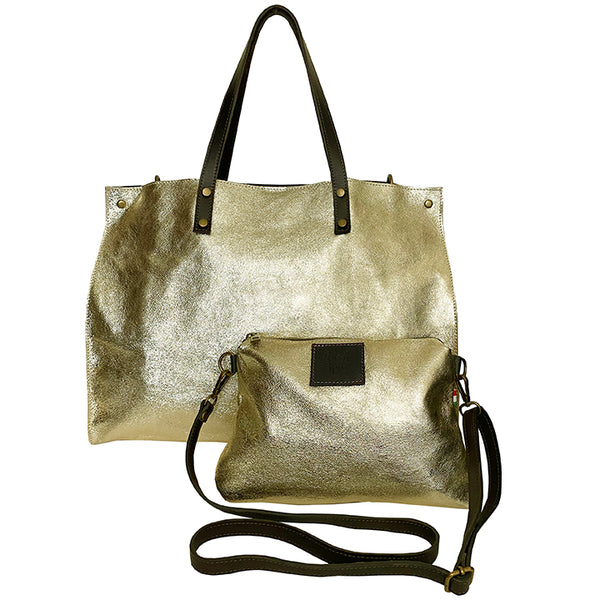 Milan Metallic Gold tote and crossbody