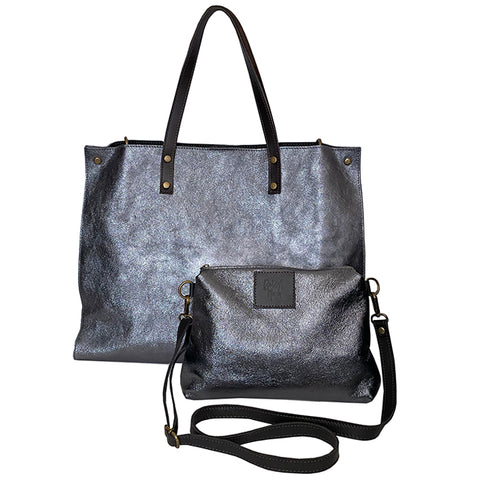 Milan Metallic tote and crossbody in Gunmetal