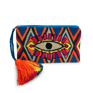Wayuu Crochet clutch, Turquoise Eye