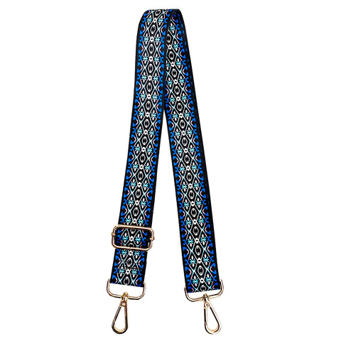 Blue, White and Black printed fabric shoulder strap
