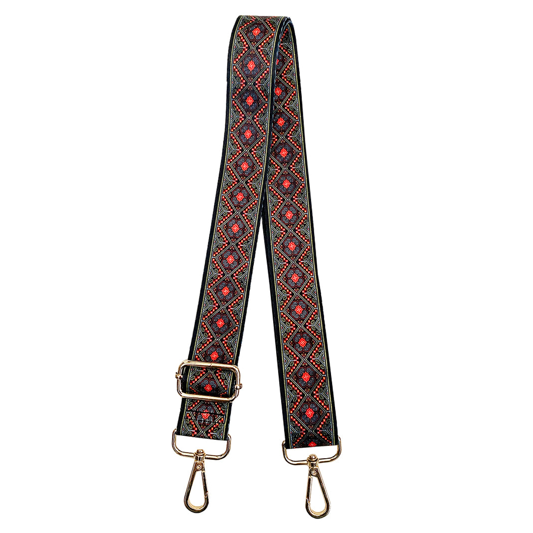 Olive, Red and Black printed Shoulder strap