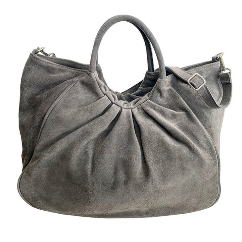 Bolsa Nova Capri Gathered Suede Satchel, Grey