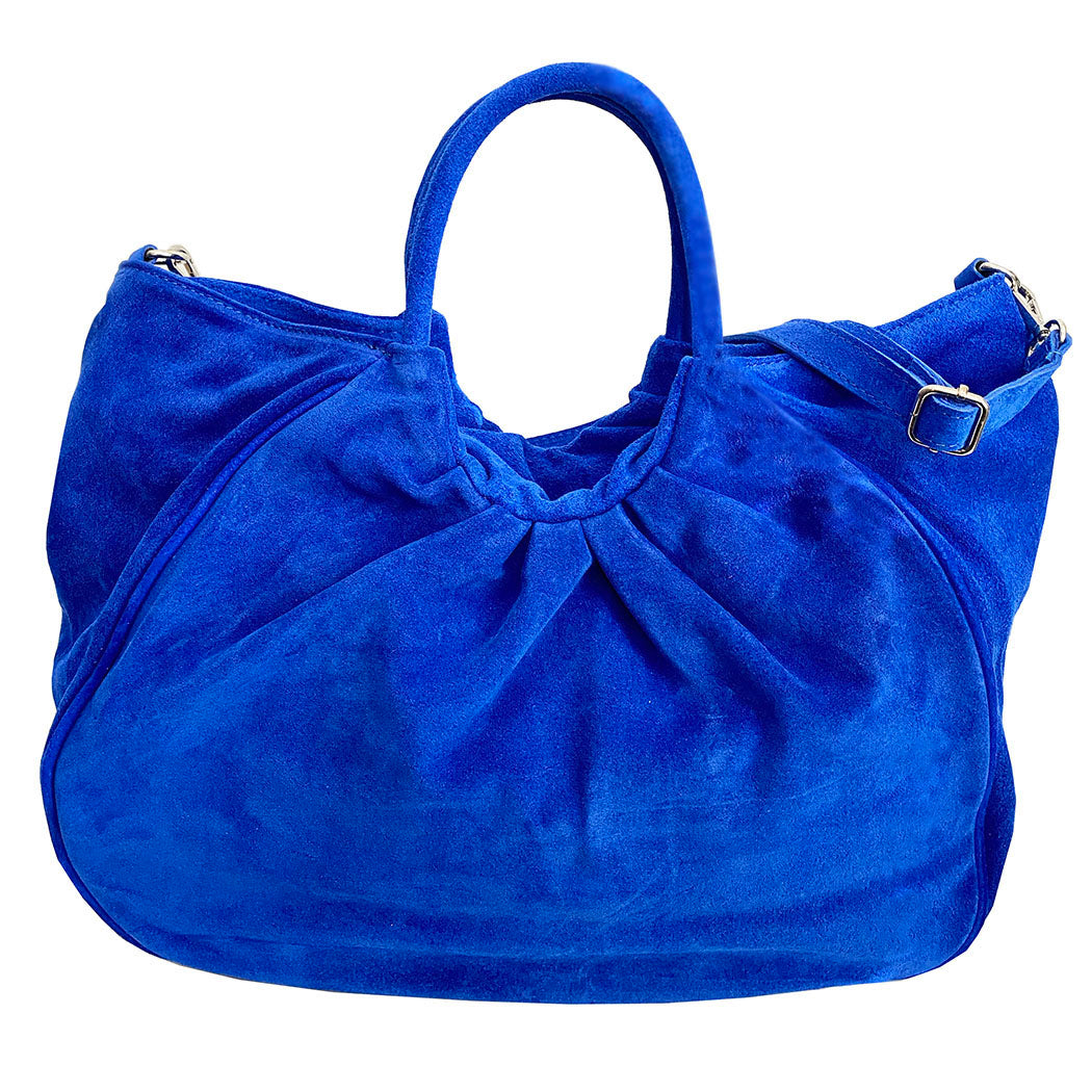 Bolsa Nova Capri Gathered Suede Satchel, Cobalt Blue