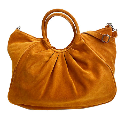 Bolsa Nova Capri Gathered Suede Satchel, orange