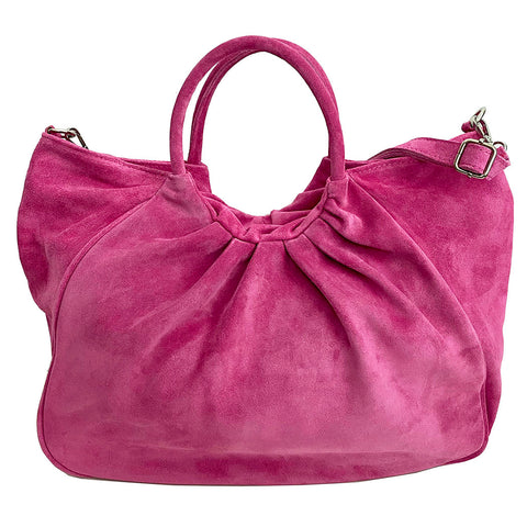 Capri gathered suede satchel in pink