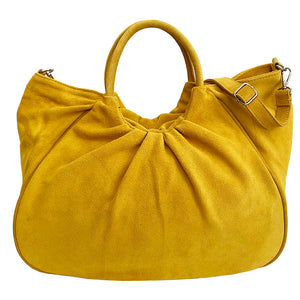 Bolsa Nova Capri Gathered Suede Satchel, Yellow