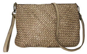 Laura woven crossbody in taupe