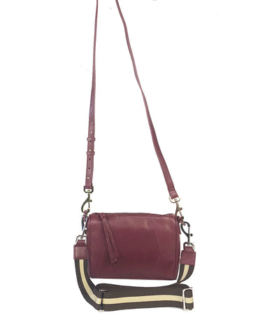 Chrissy top zip crossbody bag in Wine