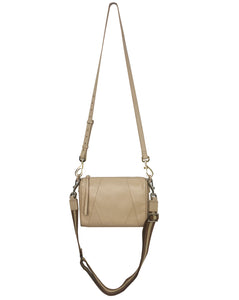 Chrissy top zip crossbody bag in Sand