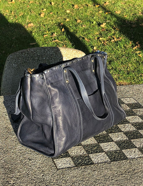 Indigo Blue, Navy, Emma Tote, leather