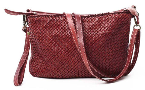 Laura woven crossbody in Bordeaux