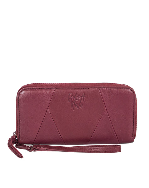 Bolsa Nova Genuine leather wallet in wine color