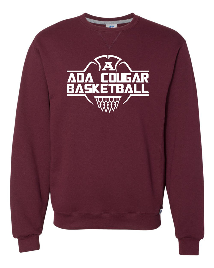 Ada Cougars Basketball Net Crew-neck Sweatshirt (Maroon)