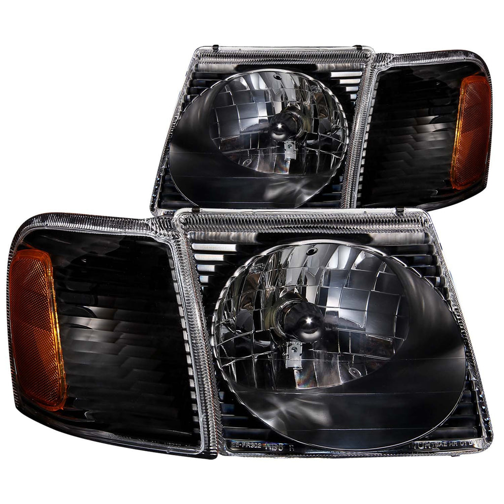 FORD EXPLORER SPORT TRAC 01-05 / SPORT 01-03 CRYSTAL HEADLIGHTS BLACK w/ CORNER LIGHT 2PC-atv motorcycle utv parts accessories gear helmets jackets gloves pantsAll Terrain Depot