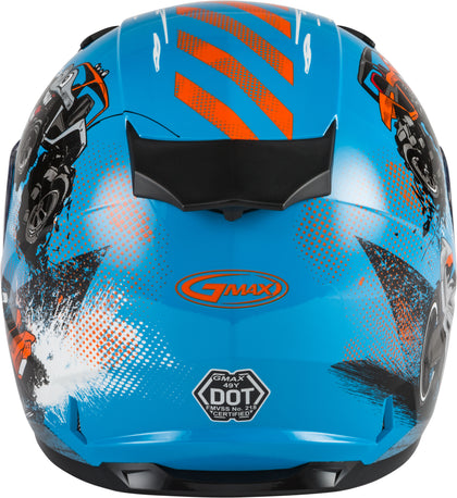 GMAX YOUTH GM-49Y BEASTS FULL-FACE HELMET BLUE/ORANGE/GREY YL G1498042