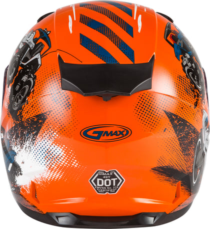 GMAX YOUTH GM-49Y BEASTS FULL-FACE HELMET ORANGE/BLUE/GREY YM G1498271