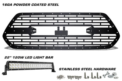 1 Piece Steel Grille for Toyota Tacoma 2016-2017 BRICKS WITH LED LIGHT BAR