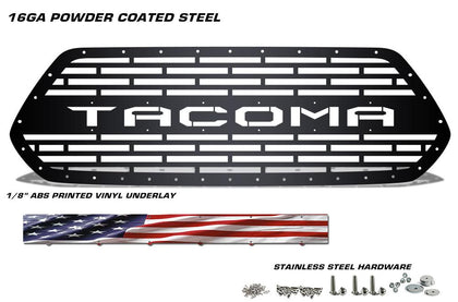 1 Piece Steel Grille for Toyota Tacoma 2016-2017 - TACOMA V2 w/ AMERICAN FLAG VINYL UNDERLAY
