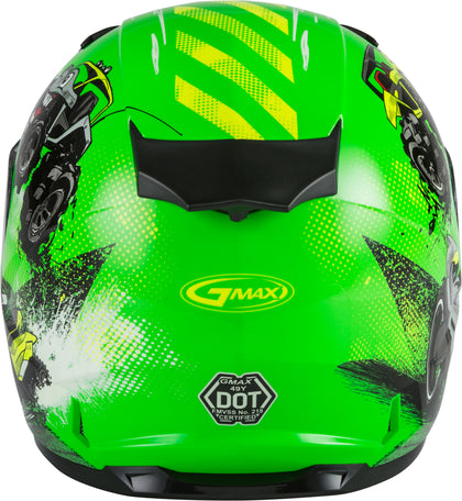 GMAX YOUTH GM-49Y BEASTS FULL-FACE HELMET NEON GREEN/HI-VIS YL G1498672