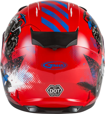 GMAX YOUTH GM-49Y BEASTS FULL-FACE HELMET RED/BLUE/GREY YS G1498370