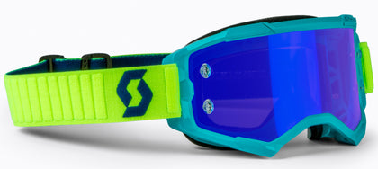 SCOTT FURY GOGGLE TEAL BLUE/NEON YLW ELECTRIC BLUE CHROME WORKS 272828-6362278