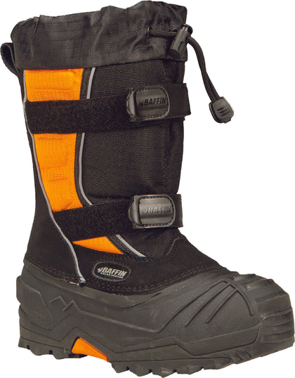 BAFFIN YOUTH EIGER BOOTS BLACK/ORANGE SZ 12 EPIC-Y001-BAK-12