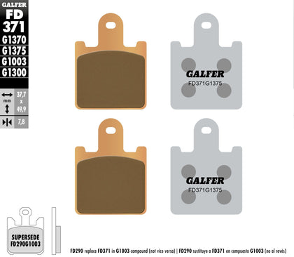 GALFER BRAKE PADS SINTERED CERAMIC FD371G1375 FD371G1375