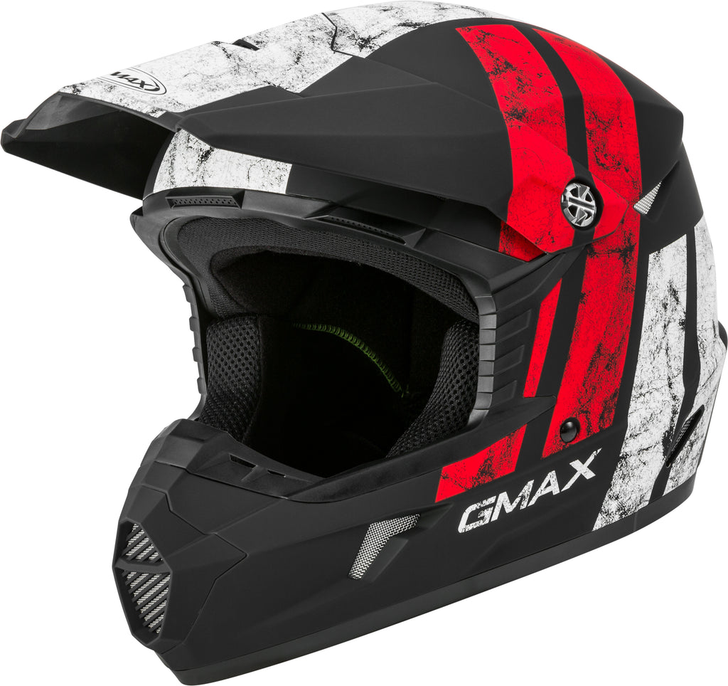 YOUTH MX-46Y OFF-ROAD DOMINANT HELMET MATTE BLK/WHITE/RED YS-atv motorcycle utv parts accessories gear helmets jackets gloves pantsAll Terrain Depot