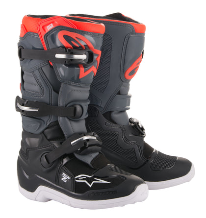 ALPINESTARS YOUTH TECH 7S BOOTS GREY/RED SZ 08 2015017-1133-8