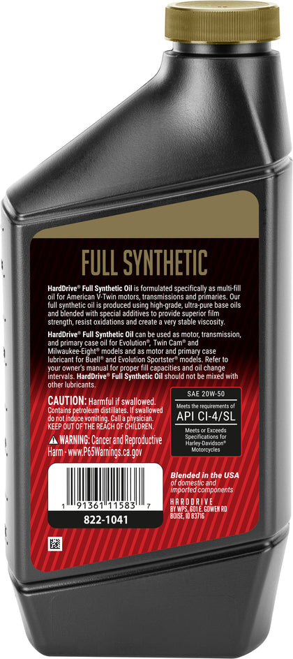 HARDDRIVE FULL SYNTHETIC ENGINE OIL 20W-50 1QT 1081006