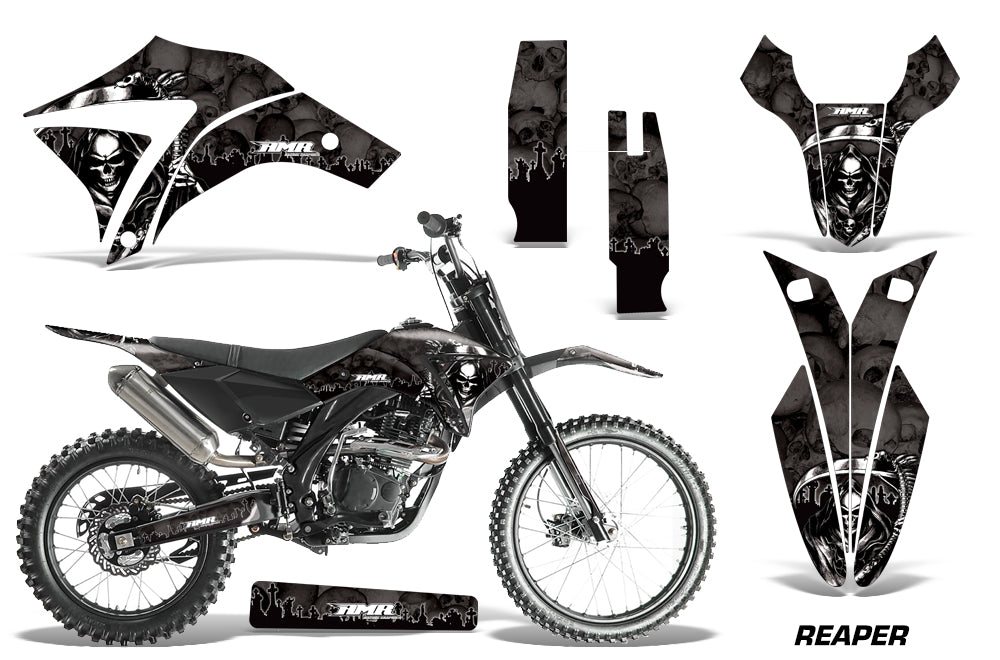 Dirt Bike Graphics Kit Decal Sticker Wrap For Apollo Orion 250RX REAPER BLACK-atv motorcycle utv parts accessories gear helmets jackets gloves pantsAll Terrain Depot
