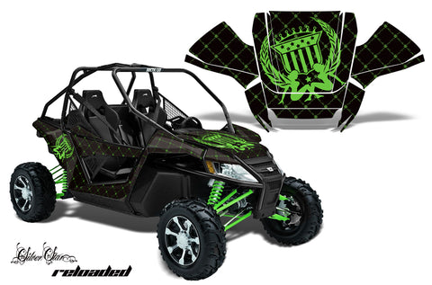 UTV Graphics Kit Decal Sticker Wrap For Arctic Cat Wildcat EPS 2012-2016  RELOADED GREEN BLACK