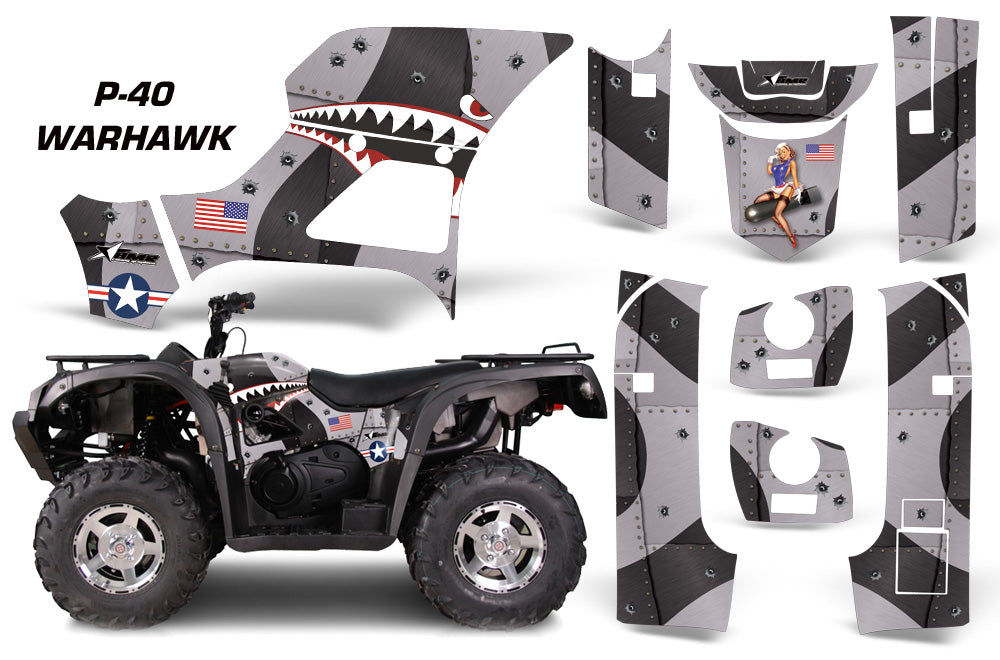 ATV Graphics Kit Decal Sticker Wrap For Bennche Grey Wolf 500/700 WARHAWK BLACK-atv motorcycle utv parts accessories gear helmets jackets gloves pantsAll Terrain Depot