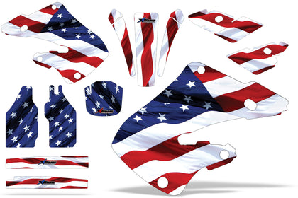 Dirt Bike Graphics Kit Decal Wrap For Honda CR125 1998-1999 CR250 1997-1999 USA FLAG