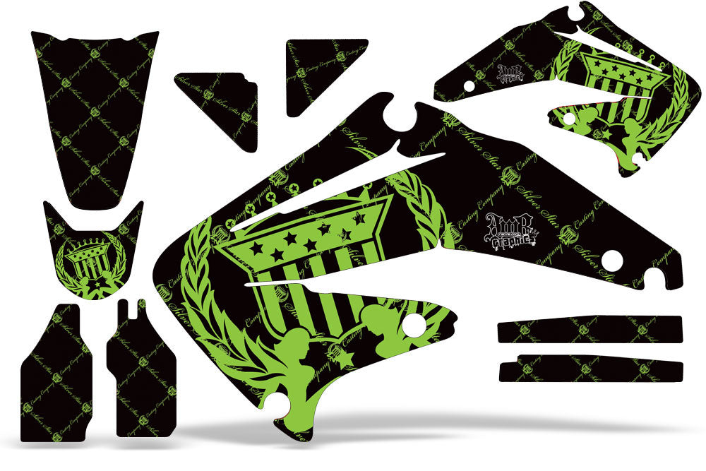 Dirt Bike Graphics Kit Decal Sticker Wrap For Honda CRF450R 2002-2004 RELOADED GREEN BLACK-atv motorcycle utv parts accessories gear helmets jackets gloves pantsAll Terrain Depot