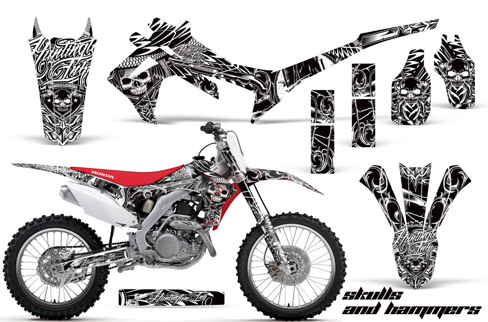 Dirt Bike Graphics Kit Decal Sticker Wrap For Honda CRF250R 2014-2017 HISH WHITE-atv motorcycle utv parts accessories gear helmets jackets gloves pantsAll Terrain Depot