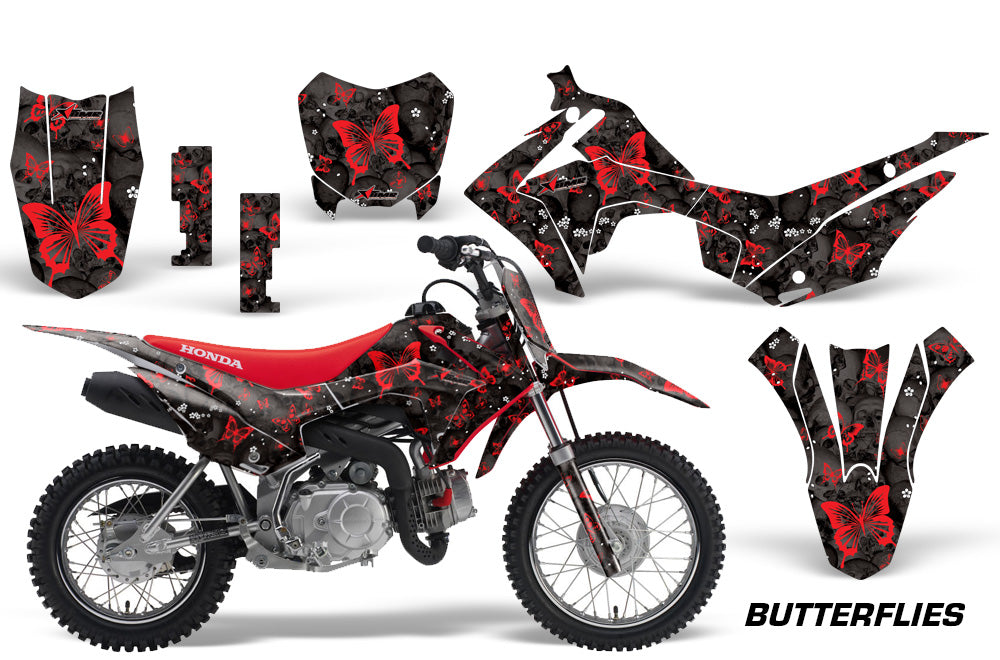Dirt Bike Decal Graphic Kit Wrap For Honda CRF110 CRF 110 2013-2018 BUTTERFLIES RED BLACK-atv motorcycle utv parts accessories gear helmets jackets gloves pantsAll Terrain Depot