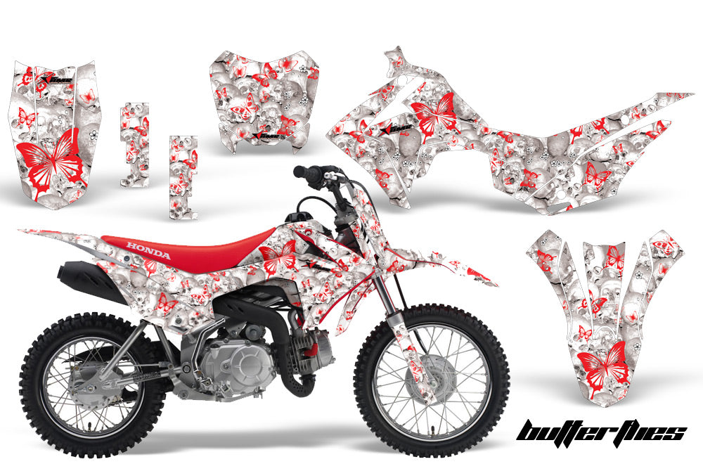 Dirt Bike Decal Graphic Kit Wrap For Honda CRF110 CRF 110 2013-2018 BUTTERFLIES RED WHITE-atv motorcycle utv parts accessories gear helmets jackets gloves pantsAll Terrain Depot