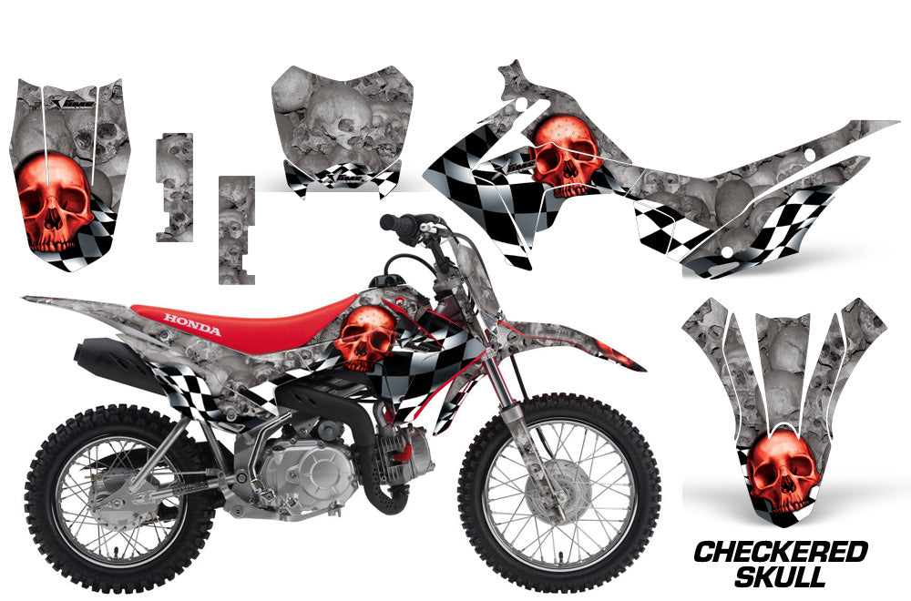 Dirt Bike Decal Graphic Kit Wrap For Honda CRF110 CRF 110 2013-2018 CHECKERED RED SILVER-atv motorcycle utv parts accessories gear helmets jackets gloves pantsAll Terrain Depot
