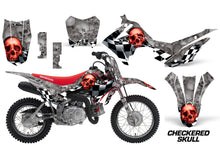 Load image into Gallery viewer, Dirt Bike Decal Graphic Kit Wrap For Honda CRF110 CRF 110 2013-2018 CHECKERED RED SILVER-atv motorcycle utv parts accessories gear helmets jackets gloves pantsAll Terrain Depot