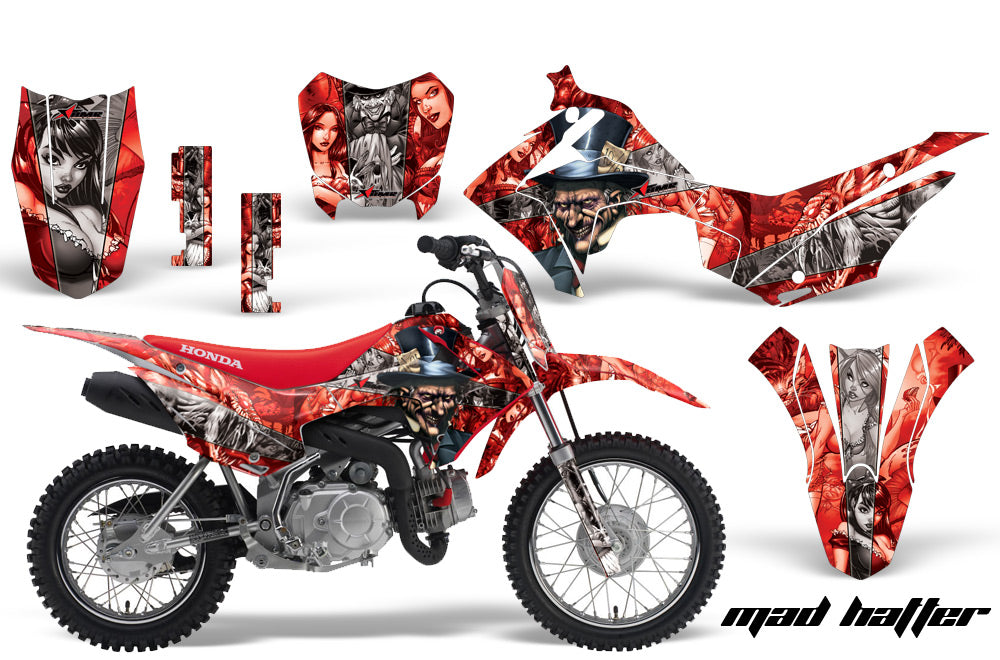 Dirt Bike Decal Graphic Kit Wrap For Honda CRF110 CRF 110 2013-2018 HATTER SILVER RED-atv motorcycle utv parts accessories gear helmets jackets gloves pantsAll Terrain Depot