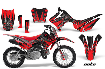 Dirt Bike Decal Graphic Kit Wrap For Honda CRF110 CRF 110 2013-2018 NUKE RED BLACK