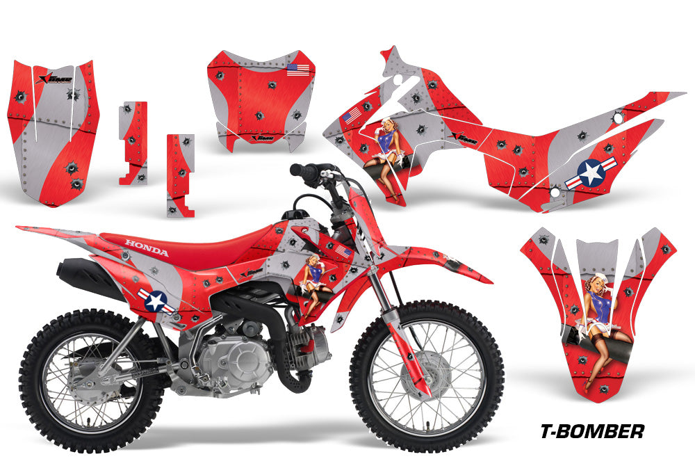 Dirt Bike Decal Graphic Kit Wrap For Honda CRF110 CRF 110 2013-2018 TBOMBER RED-atv motorcycle utv parts accessories gear helmets jackets gloves pantsAll Terrain Depot