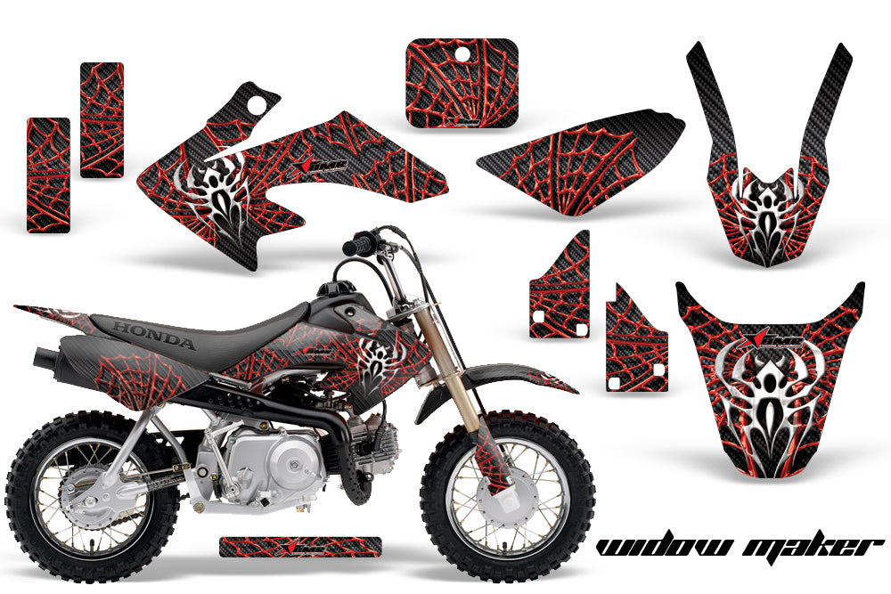 Dirt Bike Graphics Kit Decal Wrap For Honda CRF50 CRF 50 2004-2013 WIDOW RED BLACK-atv motorcycle utv parts accessories gear helmets jackets gloves pantsAll Terrain Depot