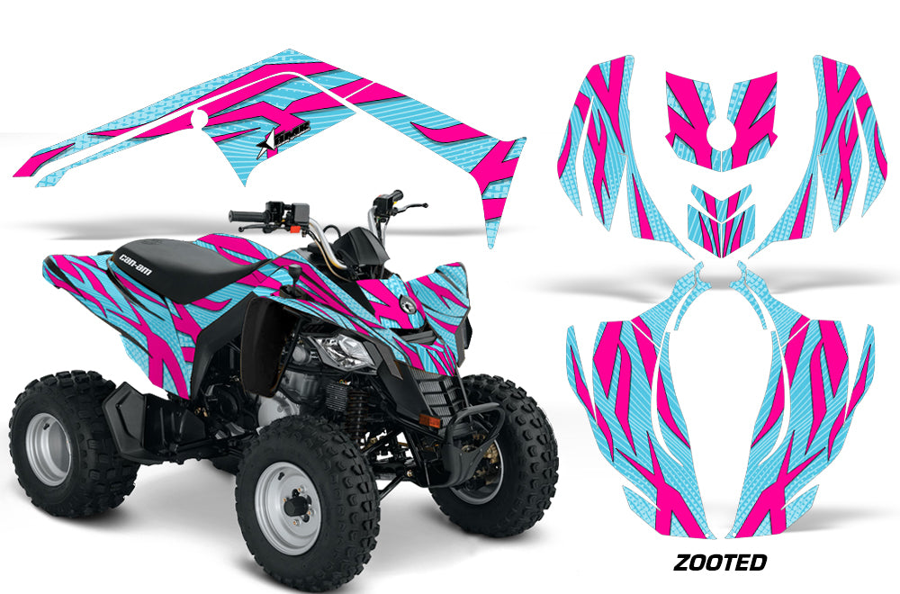 ATV Decal Graphics Kit Wrap For Can-Am DS250 DS 250 Bombardier 2006-2016 ZOOTED PINK AQUA-atv motorcycle utv parts accessories gear helmets jackets gloves pantsAll Terrain Depot