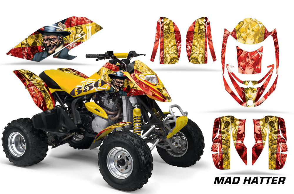 ATV Graphics Kit Decal Quad Wrap For Can-Am Bombardier DS650 DS 650 HATTER YELLOW RED-atv motorcycle utv parts accessories gear helmets jackets gloves pantsAll Terrain Depot