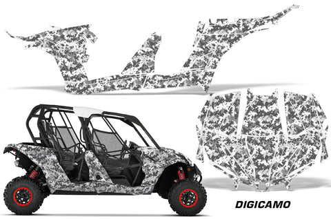 UTV Decal Graphic Kit Wrap For Can-Am Maverick MAX 1000R 4 Door 2017-2018  DIGICAMO WHITE