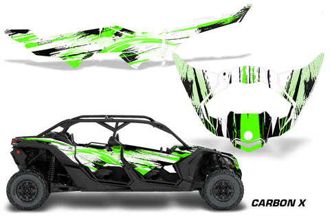 Half Graphics Kit Decal Wrap For Can-Am Maverick X3 MAX DS RS 4D 2016+  CARBONX GREEN